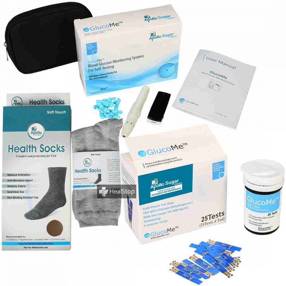 Smart Glucometer Kit With 25 Gold Plated Strips - Free Health Socks