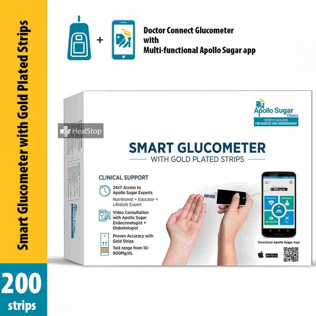 Smart Glucometer Kit With 200 Gold Plated Strips