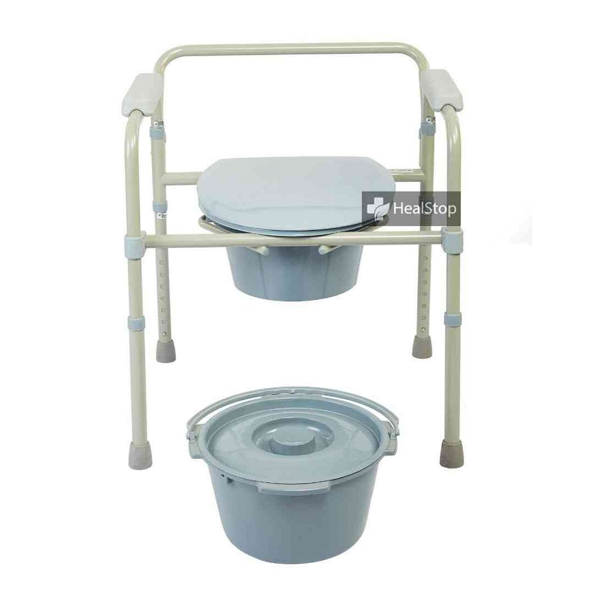 Grey Foldable Bedside Commode - M300