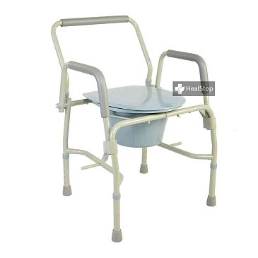 Grey Drop-Arm Bedside Commode - M301